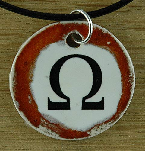 (Orginal handicraft: Omega; maths, the end, number, greek letter, college, university, teacher, jewellery, jewelry, handcrafted necklace, best gift, art, ceramic)
