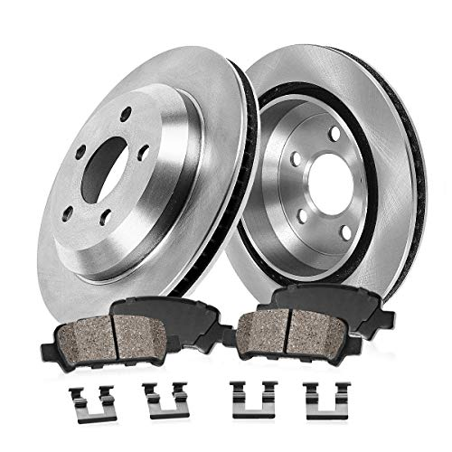 (REAR 272 mm Premium OE 5 Lug [2] Brake Disc Rotors + [4] Ceramic Brake Pads + Hardware )