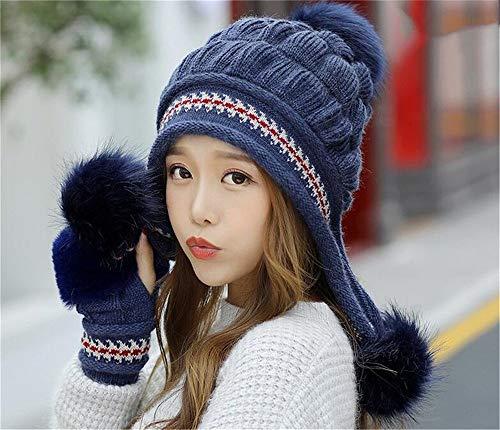 Bolas Azul Invierno Hecho Gorras Hat Pompom Mujeres Hats Lindo con Sombreros Sombrero Calor Beanie Knit Punto Elasticidad Tres Guantes Niñas Set fqwCnA7