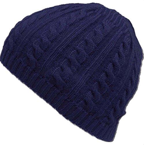 DEESEE(TM) Beanie Hat Cable Knit Winter Warm Crochet Hat Braided Baggy Beret Cuffless Beanie Cap (Navy)