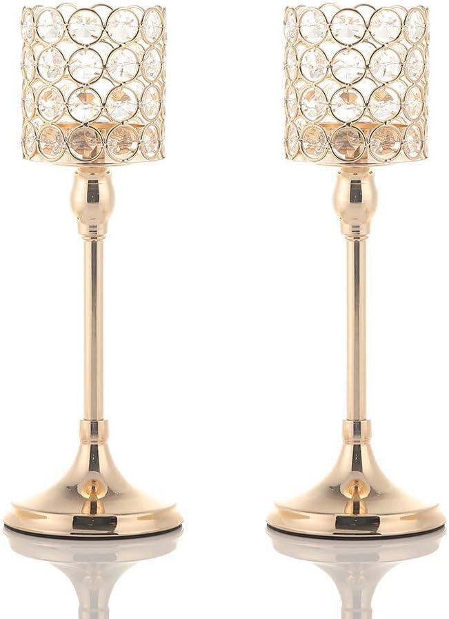 VINCIGANT Bougeoirs Cristal Doré - Cadeau Femme Noel Vase Dore Plan de Centre Table Mariage, 2pcs,30cm&30cm de Haut