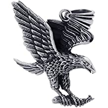 KONOV Mens Gothic Tribal Stainless Steel Hawk Eagle Pendant Necklace, 24 inch Chain