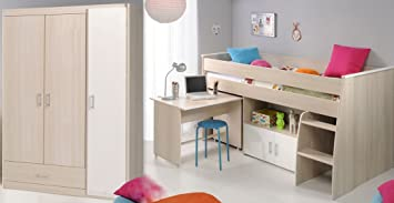 Kinderzimmer Chiron 6 Akazie Hochbett Schreibtisch ...