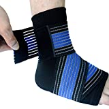 Runflory Ankle Support Brace with Straps, Compression Ankle Foot Sleeve with Adjustable Ankle Strap Wrap Bandage - Ankle Support for Athletics, Injury Recovery, Joint Pain (Blue)