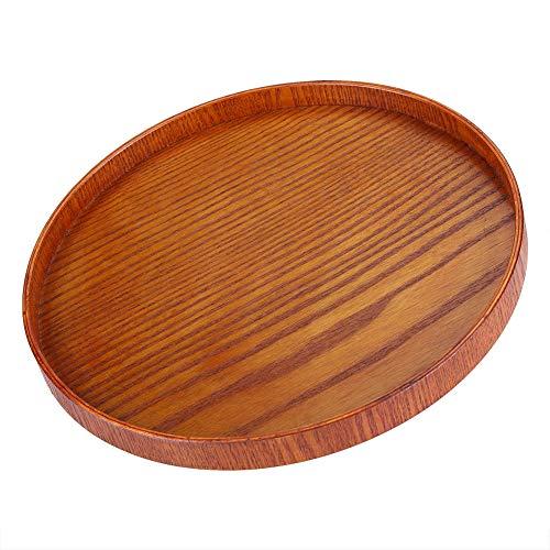 (Wood Serving Plate,Wood Round Serving Tea Tray Fruit Dessert Cake Snack Candy Water Platter Wooden Bowls(33cm / 12.99 inch))