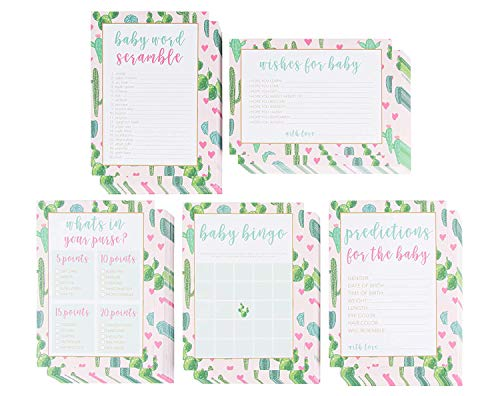 Baby Shower Game Card Packs - 5-Set Assorted Party Activity Supplies for 50 Guests, Including Bingo, Word Scramble, and Well Wishes, Boho Cactus and Hearts Design, 50 Sheets, 5 x -