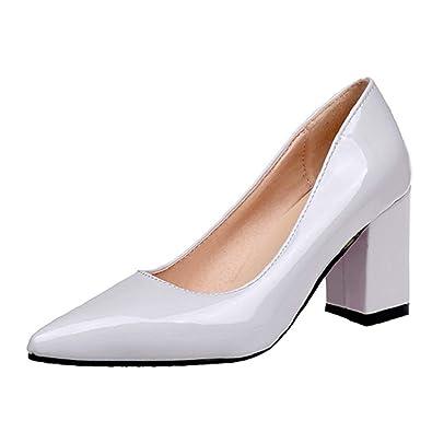 be88fa87475e67 Damen Business Schuhe Blockabsatz feiXIANG Elegante High Heels Party  Sandalen 2019 Einfarbig Abendschuhe Pumps(Grau