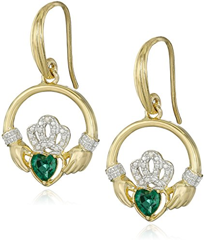 18k Yellow Gold Plated Sterling Silver Created Emerald and Diamond Accent Claddagh Drop (Celtic Gold Earrings)