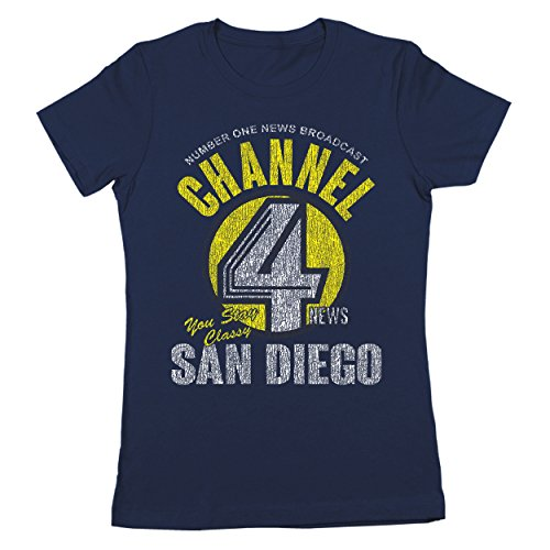 Channel 4 News Funny Anchor Channel San Diego Anchorman Cool Comedy Humor Womens Shirt Large - Outlet Diego Shops San
