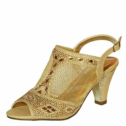 Rock en Estilos Mujer pedrería Fiesta Noche Boda Tacón Bajo Medio Zapatos sandals-1040 Oro