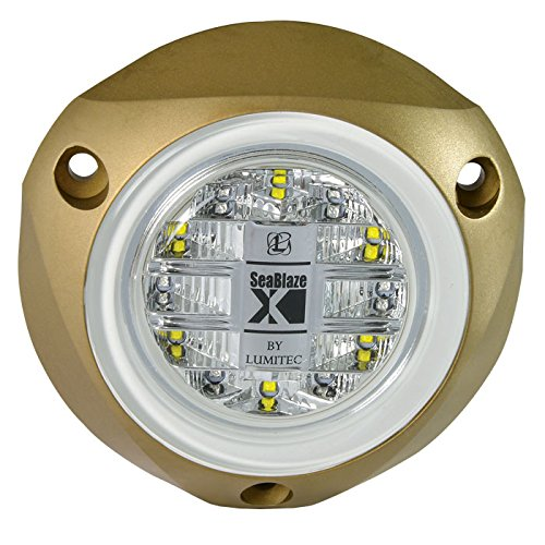 Lumitec SeaBlazeX 101140, LED Underwater Boat Light, Surface Mount, White, White Cross Fade, White Strobe