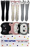 Tiny Captain Girls Knee High Long Socks Gift Over Calf Cartoon Animal Sock For Girl Ages 4-10 Yr Old One Size (Pink, Grey, Black, Medium)