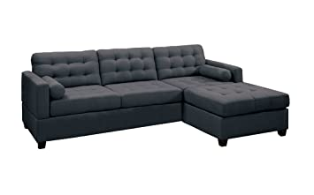 Poundex Bobkona Hardin Polyfabric Left or Right Hand Reversible Sectional Sofa Slate Black  sc 1 st  Amazon.com : sectional sofa amazon - Sectionals, Sofas & Couches