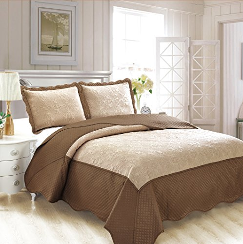 Fancy Collection 3pc Luxury Bedspread Coverlet Embossed Bed Cover Solid Tow Tune Taupe/Dark Brown New Over Size King /California King 118″ x 106″ #Veronica