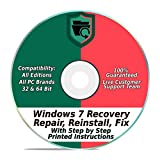 Windows 7 Repair & Recovery Disk 32 & 64 Bit DVD Reinstall Reboot Fix ALL Brands HP, Dell, Asus, Toshiba, etc. Laptop / Desktop Computers [Instructions & Support]