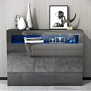 Apelila High Gloss Sideboard Storage Cabinet Tall Display Cabinet for Living Room Dining Room (Black)