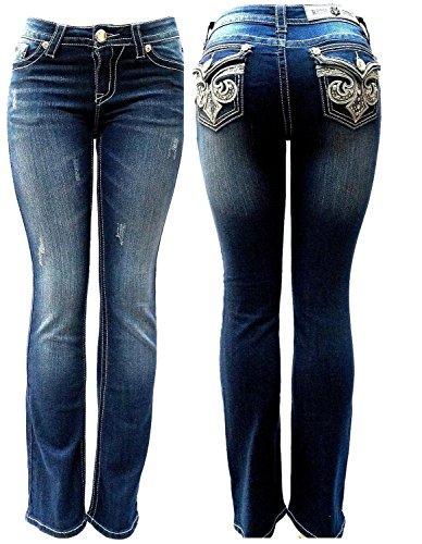 Clash/Jack David/Rich Girl/Sexy Couture Premium Womens Curvy Basic Bootcut/Straight Leg Blue Denim Jeans Stretch Pants