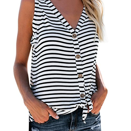 Women's Striped Button Tank Top, E-Scenery Casual V-Neck Cotton Vest Sleeveless T-Shirt Tops (White, ()
