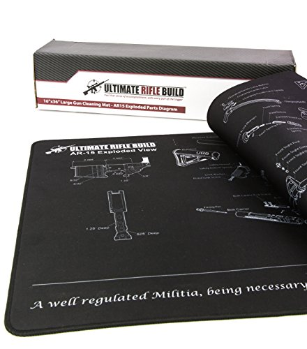 Review X-Large AR15 Gun Cleaning Mat with Exploded Parts Diagram & BONUS Magnetic Parts Tray; non-slip & solvent resistant pad; stitched edges – 16″x36″