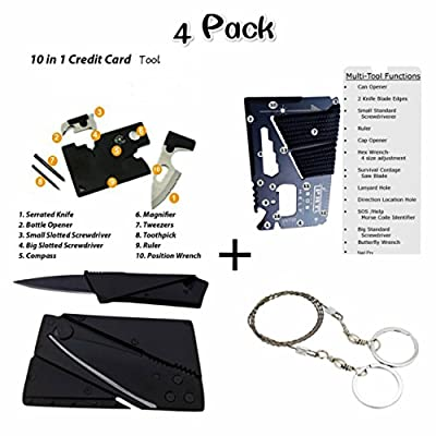 Credit Card Tool Survival Kit with 14-in-1 Credit Card Multitool,10-in-1 Multitool Card , Foldable Card Knife ,Pocket Saw,For Fishing Camping Hiking Hunting Emergency Kit by ISPANDY