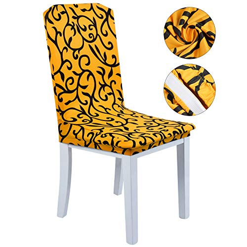 Justdolife Dining Chair Slipcovers Kitchen Chair Cover Spandex Stripe Floral Printed Seat Cover for Home Hotel Wedding ()