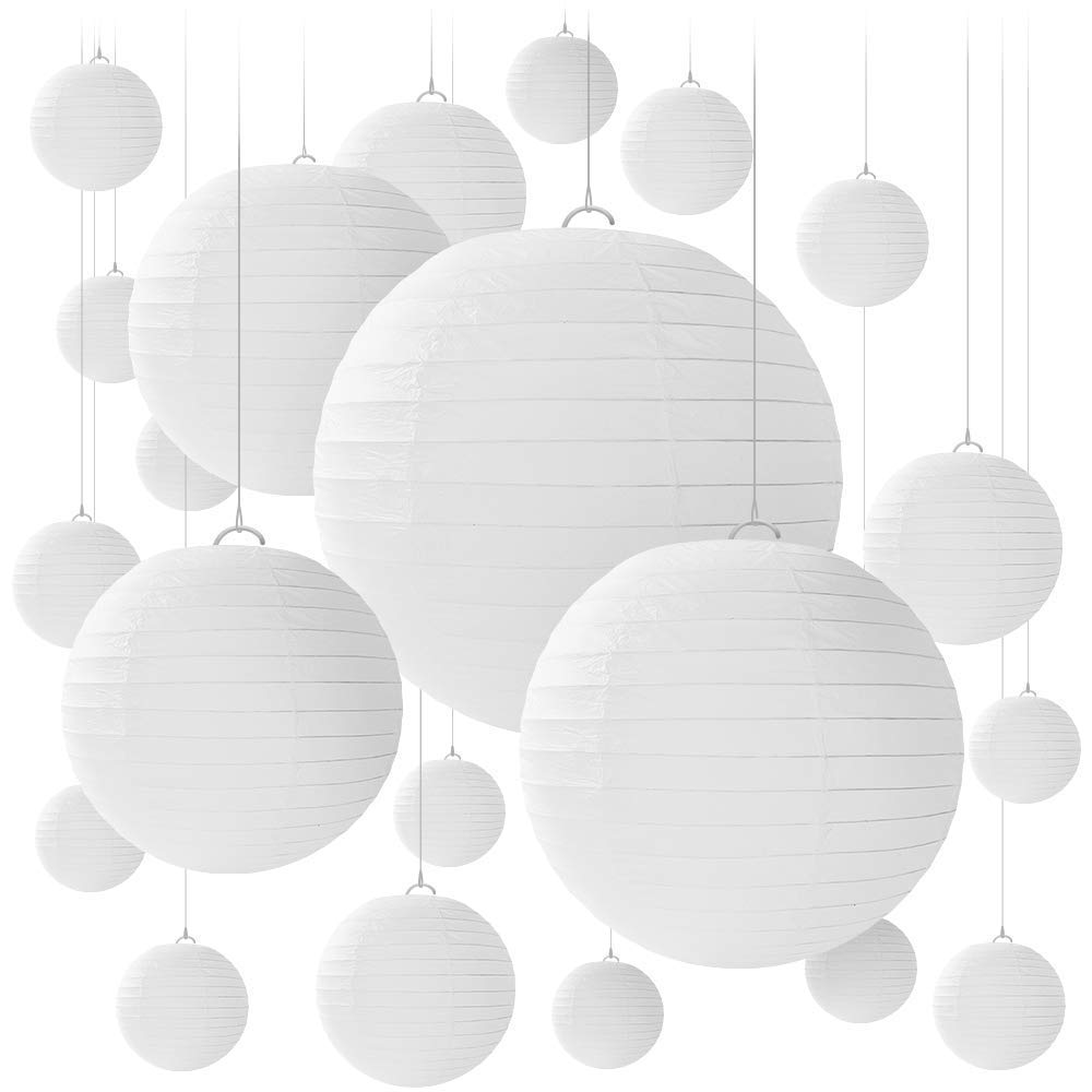Alfie 16 PCS Paper Lanterns, Round White Paper Lantern with Wire Ribbing, Different Sized White Lampshades, 6