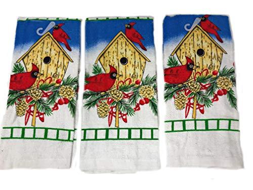 (Nidico Holiday Kitchen Towel Bundle 3 Cardinal/Birdhouse Towels)