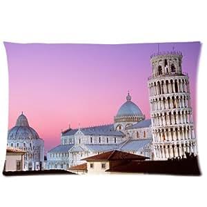 Torre inclinada de Pisa con cremallera más vendido rectangular almohadas y fundas de almohada de 20x 30(un lado)