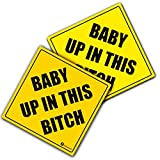 #5: Zone Tech Baby Up In This Bitch Vehicle Safety Sticker - 2-Pack Premium Quality Convenient Reflective Baby Up On This Bitch Vehicle Safety Funny Sign Sticker