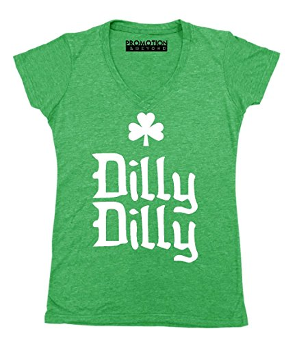 Dilly Dilly Funny Irish Shamrock Viral Women's V-Neck, S, Heather Green (Drinking Light T-shirt Team)