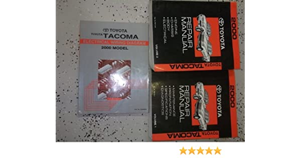 2000 toyota tacoma service repair shop manual set factory book set w ewd (2  volume set, and the electrical wiring diagrams manual) paperback – 2000
