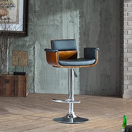 Adjustable Height Swivel Walnut And Black Bar Stool With Cushion
