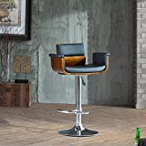 Cheap Supernova Modern Adjustable Height Swivel Walnut and Black PU Leather Bar Stool