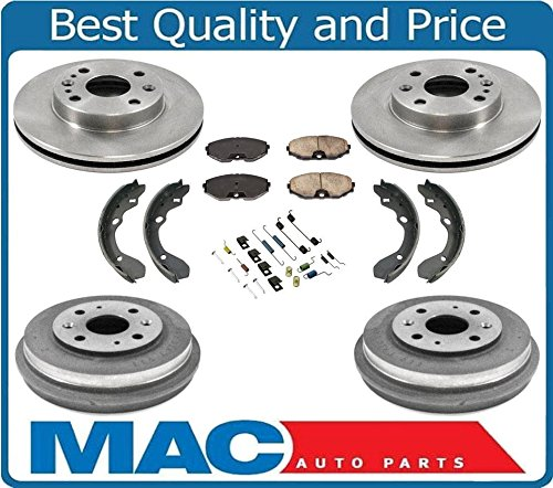 Fits For 93-96 Ford Escort Front Disc Brake Rotors Pads W/Brake Drums Shoes Springs ()