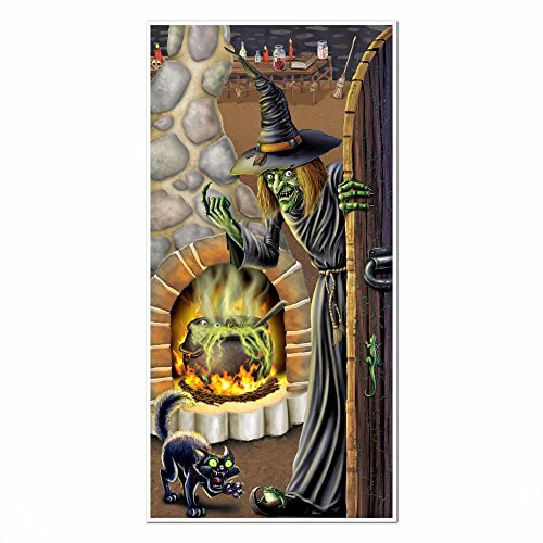 1 HALLOWEEN Party Decoration Prop Scary Evil WITCH'S BREW Wall DOOR COVER]()