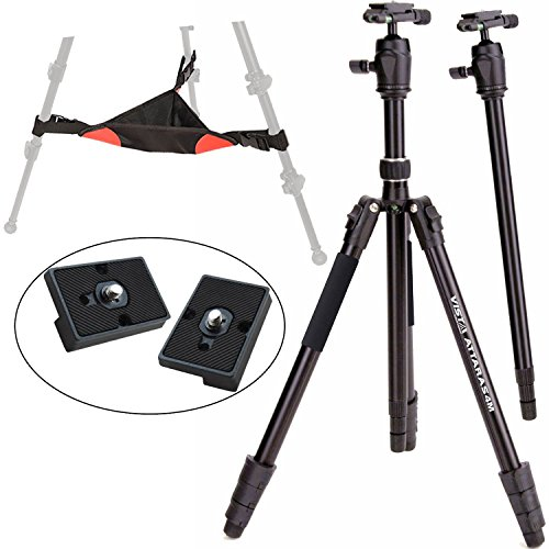 Davis & Sanford ATTARAS 4M Pro Performance DSLR Grounder Tripod with Monopod and B11 Ball Head, Ritz Gear Tripod Stone Bag and 2X Quick Release Plate
