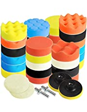 3 inch Car Polishing Buffing Waxing Kit Polisher Sponge Pads Set with Drill Adapter for Vehicle Waxing Boat Polishing, Polishing, Waxing, Sealing Glaze