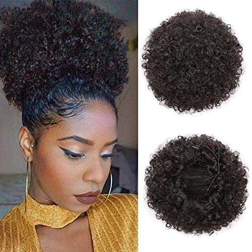 ForQueens Synthetic Curly Hair Ponytail African American Short Afro Kinky Curly Wrap Drawstring Puff Ponytail Hair Extensions Wig with 2 Clips(2#)