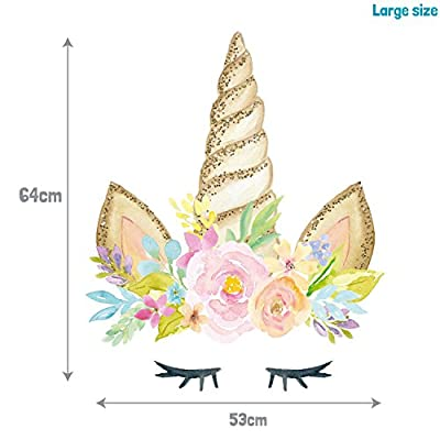 Unicorn Horn Wall Decal   Girl's Room décor   Wall Stickers (with Printed Glitter Effect, Large Size): Baby