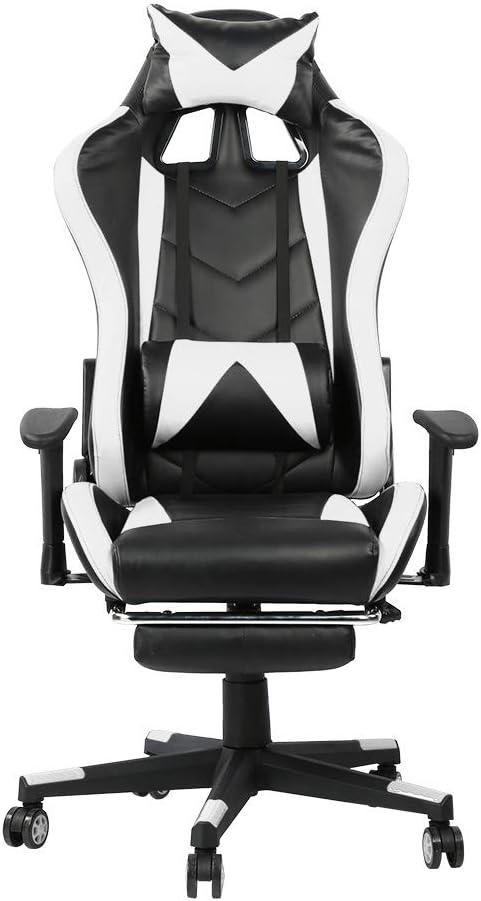 Ausla - Silla para videojuegos, ergonómica, con reposapiés, E-Sports - Silla de gaming para ordenador, ajustable, 360 grados y ruedas multidireccionales (blanco + negro)