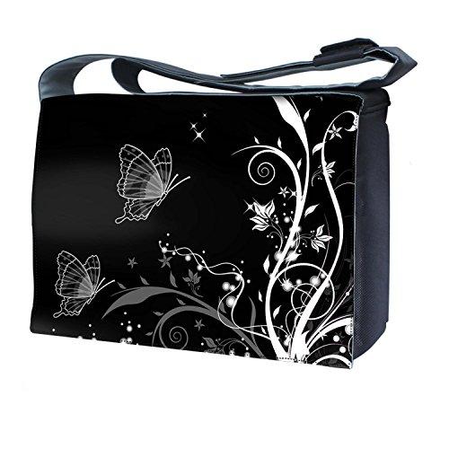 Ektor - Bolso al hombro para mujer blanco y negro, diseño de mariposas