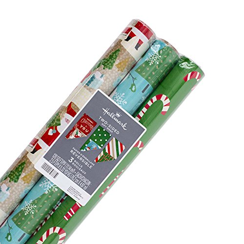Hallmark Reversible Christmas Wrapping Paper Bundle Candy Canes