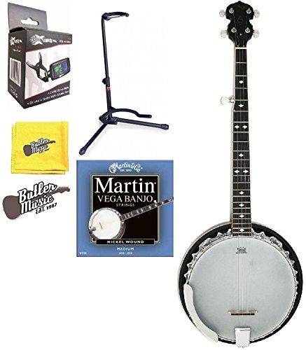 Stagg BJM30DL DLX 5 String Bluegrass Banjo - Resonator w/Banjo Stand + More