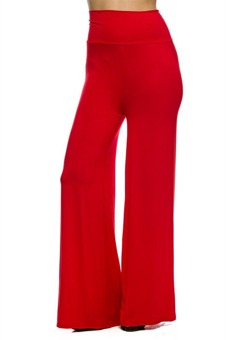 Superline Wide Leg High Fold Over Waist Palazzo Pants (X-Large, Red)