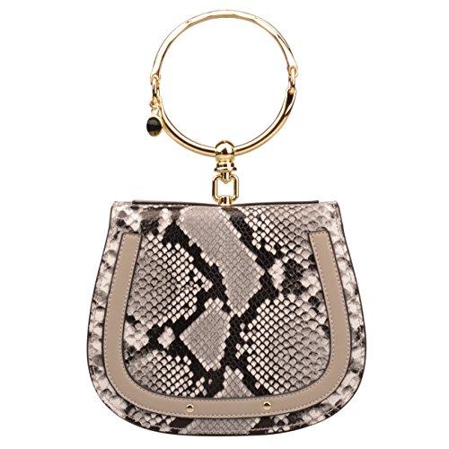 (Women's Genuine Leather Crossbody Bag Bracelet Handle Purse Top Handle Small Handbags (Small, Snakeskin))