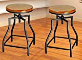 28 bar stools - eHemco 24-29'' Adjustable Swivel Metal Barstool with Wood Veneer Seat (2)