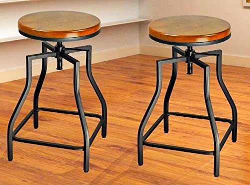 eHemco 24-29'' Adjustable Swivel Metal Barstool with Wood Veneer Seat (2) (Bar Stools Swivel Target)