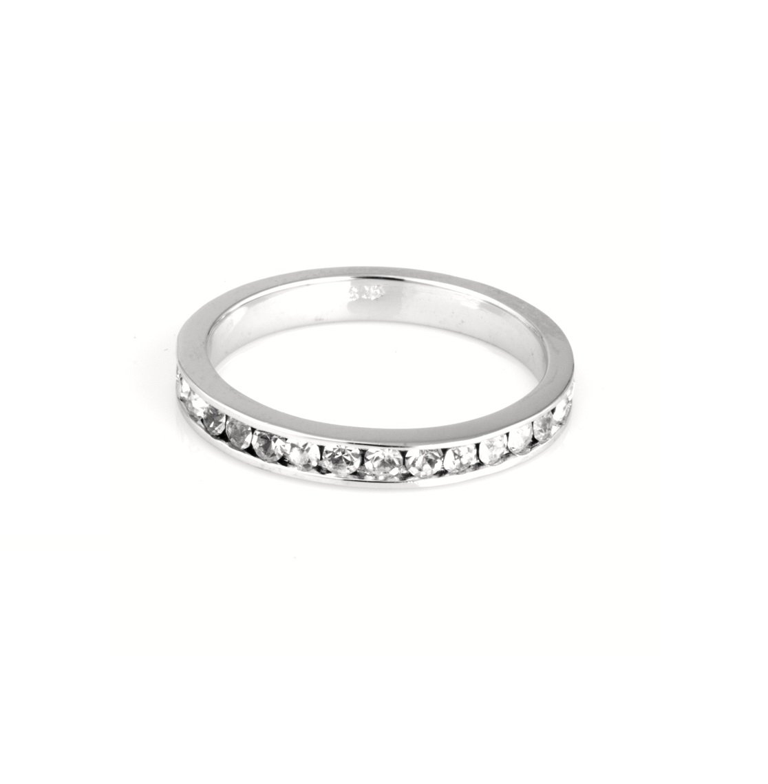 925 Sterling Silver Eternity Ring Cubic Zirconia Simulated Diamond 3MM Size 13