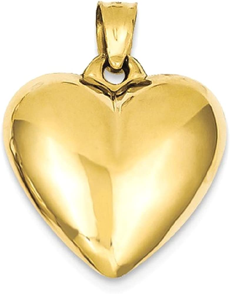 14k Yellow Gold 3 D Heart Pendant Charm Necklace Love Puffed Fine Jewelry For Women Gifts For Her