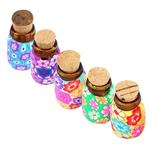474e88a34eb6 C-Pioneer 5PCS Mini Glass Polymer Clay Bottles Containers Vials With ...